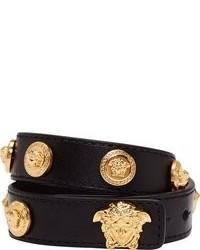Bracelet en cuir noir et doré Versace