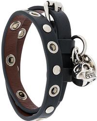 Bracelet en cuir noir Alexander McQueen