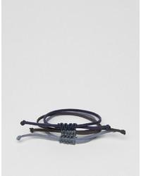 Bracelet en cuir noir Asos