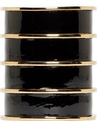 Bracelet en cuir noir Balmain
