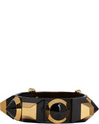 Bracelet en cuir noir Fendi