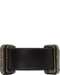 Bracelet en cuir noir Lanvin