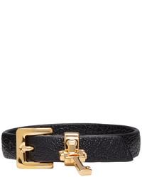 Bracelet en cuir noir Miu Miu