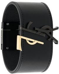 Bracelet en cuir noir Saint Laurent