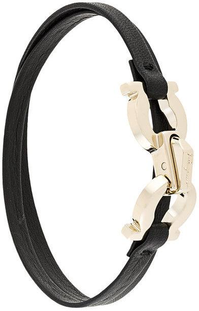 Bracelet en cuir noir Salvatore Ferragamo