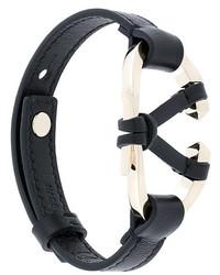Bracelet en cuir noir Valentino