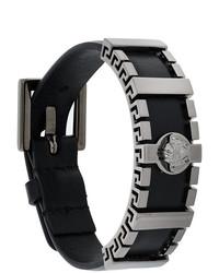 Bracelet en cuir noir Versace