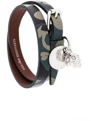 Bracelet en cuir olive Alexander McQueen