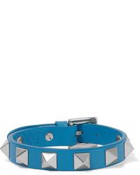 Bracelet en cuir orné bleu Valentino