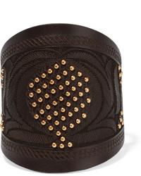 Bracelet en cuir orné brun foncé Valentino