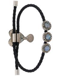 Bracelet en cuir orné noir Alexander McQueen