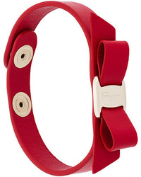 Bracelet en cuir rouge Salvatore Ferragamo