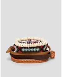 Bracelet en cuir tressé marron foncé Asos