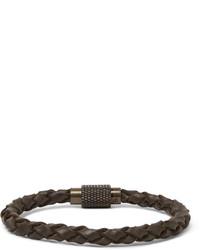 Bracelet en cuir tressé marron foncé Polo Ralph Lauren