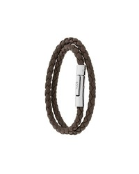 Bracelet en cuir tressé marron foncé Tod's