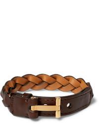 Bracelet en cuir tressé marron foncé Tom Ford