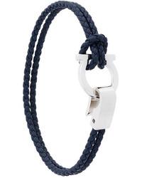 Bracelet en cuir tressé noir Salvatore Ferragamo