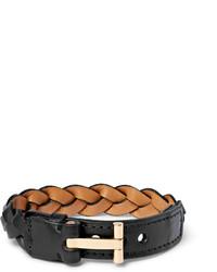 Bracelet en cuir tressé noir Tom Ford