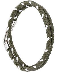 Bracelet en cuir tressé olive Tod's