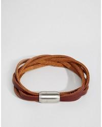 Bracelet en cuir tressé tabac Reclaimed Vintage