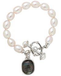 Bracelet orné de perles blanc