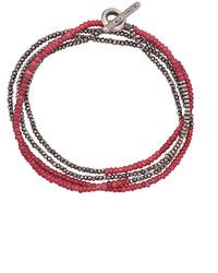 Bracelet orné de perles bordeaux M. Cohen