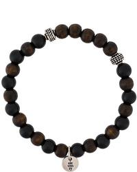Bracelet orné de perles marron foncé Eleventy