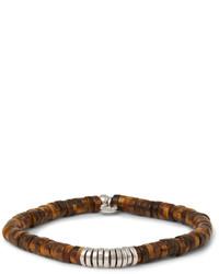 Bracelet orné de perles marron foncé Tateossian