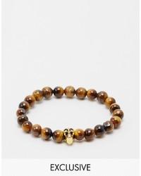 Bracelet orné de perles marron Reclaimed Vintage