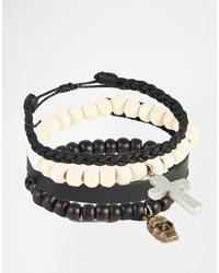 Bracelet orné de perles noir Asos