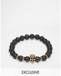 Bracelet orné de perles noir Reclaimed Vintage