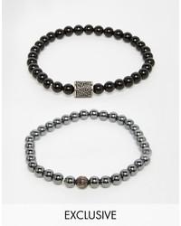 Bracelet orné de perles noir Simon Carter