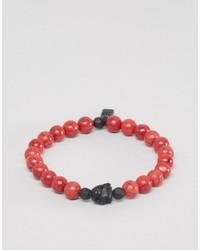 Bracelet orné de perles rouge Icon Brand