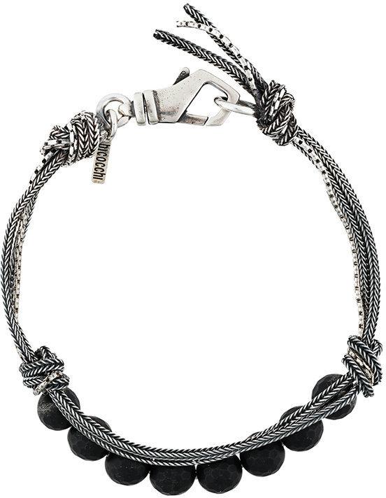 Bracelet orné de perles tressé argenté Emanuele Bicocchi