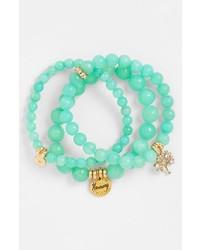 Bracelet orné de perles vert menthe