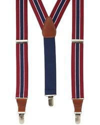 Bretelles à rayures verticales blanc et rouge et bleu marine