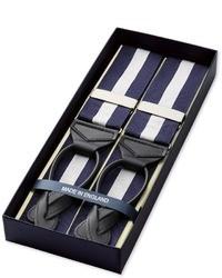 Bretelles à rayures verticales bleu marine et blanc