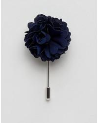 Broche à fleurs bleue marine