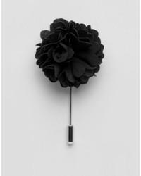 Broche à fleurs noire