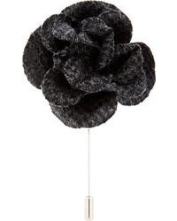 Broche à fleurs noire Lanvin