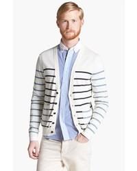 Cardigan à col châle à rayures horizontales blanc et noir