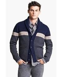 Cardigan à col châle à rayures horizontales bleu marine et blanc