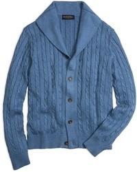 Cardigan à col châle bleu