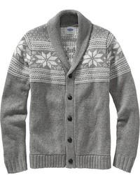 Cardigan à col châle en jacquard gris