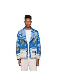 Cardigan à col châle en tricot bleu Alanui