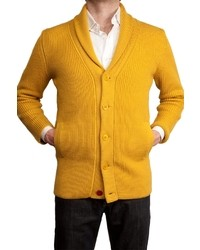 Cardigan à col châle jaune