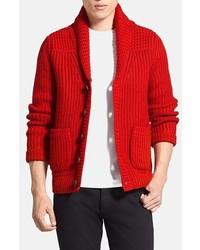 Cardigan à col châle rouge