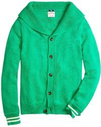 Cardigan à col châle vert