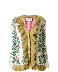 Cardigan à fleurs beige Gucci