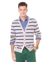 Cardigan à rayures horizontales beige